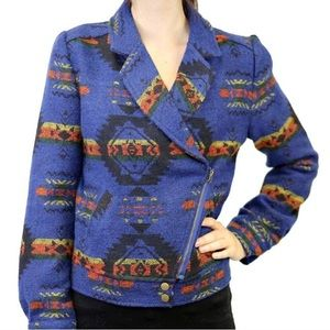 Blu Pepper blue Aztec print jacket, size L